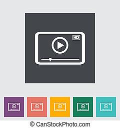video gracz, płaski, icon.