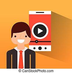 video gracz, płaski, ikona