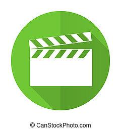 video green flat icon cinema sign