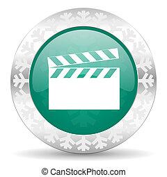 video green icon, christmas button, cinema sign