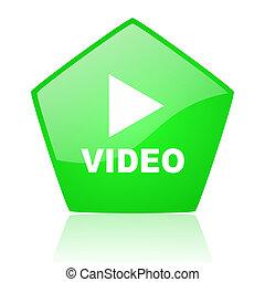 video green pentagon web glossy icon