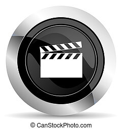 video icon, black chrome button, cinema sign