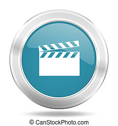 video icon, blue round glossy metallic button, web and mobile app design illustration