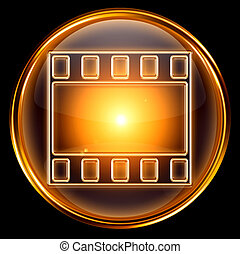 video icon gold, isolated on black background