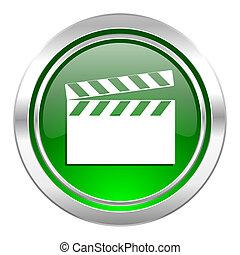 video icon, green button, cinema sign