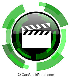 video icon, green modern design isolated button, web and mobile app design illustration