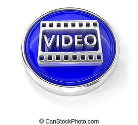 Video icon on glossy blue round button