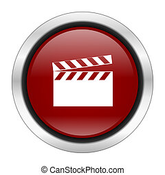 video icon, red round button isolated on white background, web design illustration