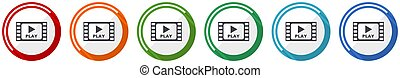 Video icon set, flat design vector illustration in 6 colors options for webdesign and mobile applications