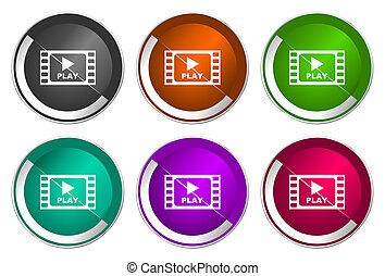 Video icon set, silver metallic web buttons