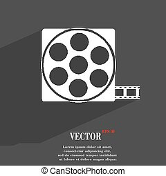 Video icon symbol Flat modern web design with long shadow and space for your text. Vector