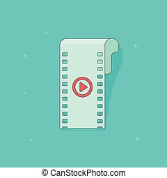 Video icon vector illustration isolated, flat filmstrip red play button