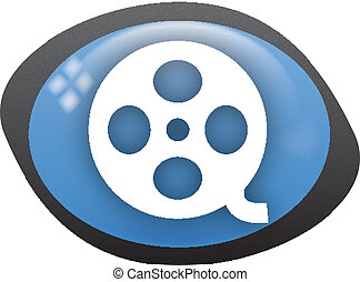 video icon - vide oval blue icon