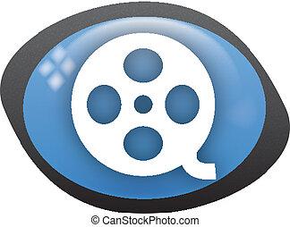 vide oval blue icon