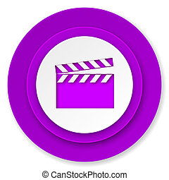 video icon, violet button, cinema sign