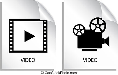 Video icons isolated on white