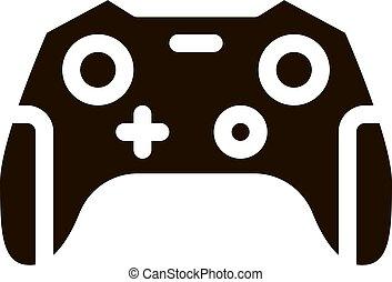 video, interattivo, giochi, gamepad, bambini, glyph, icona