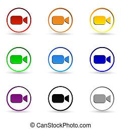video kamera, icons.
