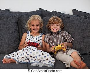 video, kinder, spiele, junger, spielende