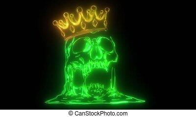 animation king skull wearing crown.
