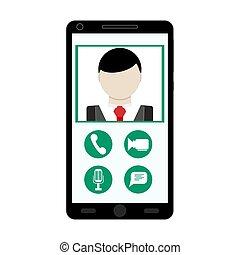 video, korzystać, smartphone, rozmowa telefoniczna