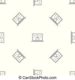Video laptop chat pattern seamless vector