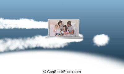 video, laptop, rodzina, szczęśliwy