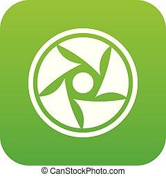 Video lens icon digital green