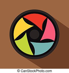 Video lens icon, flat style
