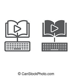 Video Lesson line and glyph icon, e learning and education,...