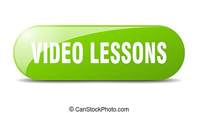 video lessons button. sticker. banner. rounded glass sign
