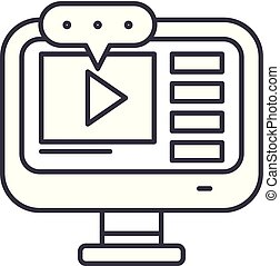 Video lessons line icon concept. Video lessons vector linear...