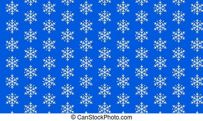 Video looped geometric snowflakes pattern on blue background