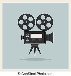 video, macchina fotografica film, su, retro, fondo