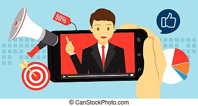 video marketing advertising with viral content vector illustration