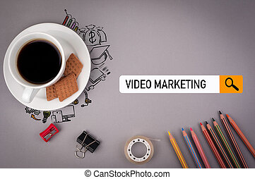 video marketing concept. Gray office desk with the inscription