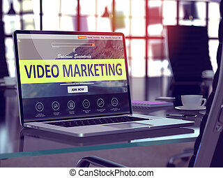 Video Marketing Concept on Laptop Screen.
