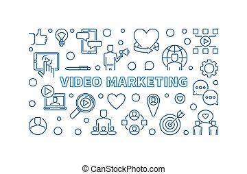 Video Marketing content vector thin line horizontal illustration