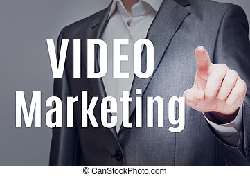 Video Marketing. Man touching in text