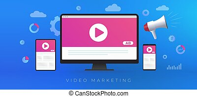 Video Marketing, online digital media advertising business concept. Digital marketing with online broadcasting and streaming video content. Ad media on desktop, laptop, tablet pc, mobile phone screen