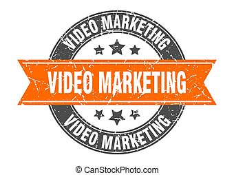 video marketing round stamp with ribbon. label sign