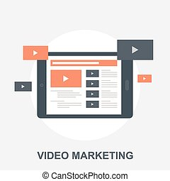 Vector illustration of video marketing flat design concept.