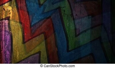 graffiti multicolor zigzag line art night light moves along...