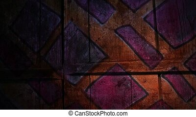 Video motion graffiti square ornament night light moves along the wall abstract background pattern hd 1920x1080