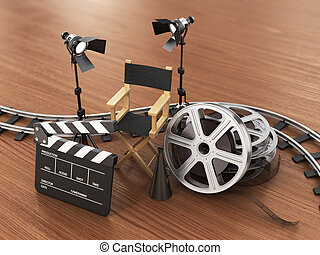 Video, movie, cinema concept. Light, film strip, reels, ...