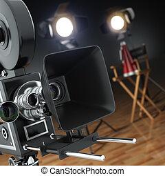 Video, movie, cinema concept. Retro camera, flash and...