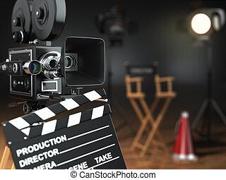 Video, movie, cinema concept. Retro camera, flash,...