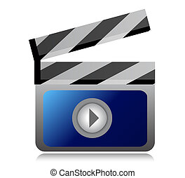 video movie clipper illustration design over a white...