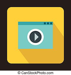 Video movie media player icon, flat style