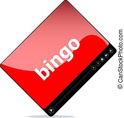 Video movie media player with bingo on it